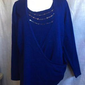 NWT Bay Studio career 1X Plus Blue Wrap Sweater